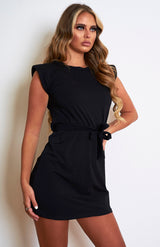 Black Padded Shoulder T.Shirt Dress