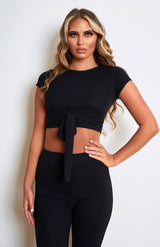 Black Ribbed Loungwear Set