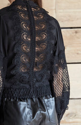 Black Lace Panel HigH Neck Pussy Bow Shirt