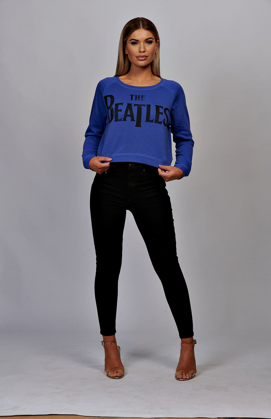Blue Beatles Cropped Sweatshirt