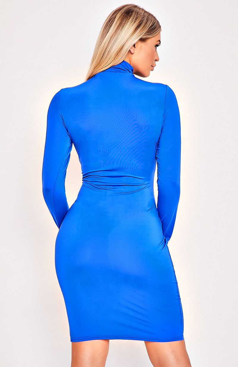 Blue Long Sleeve High Neck Pencil Bodycon Dress