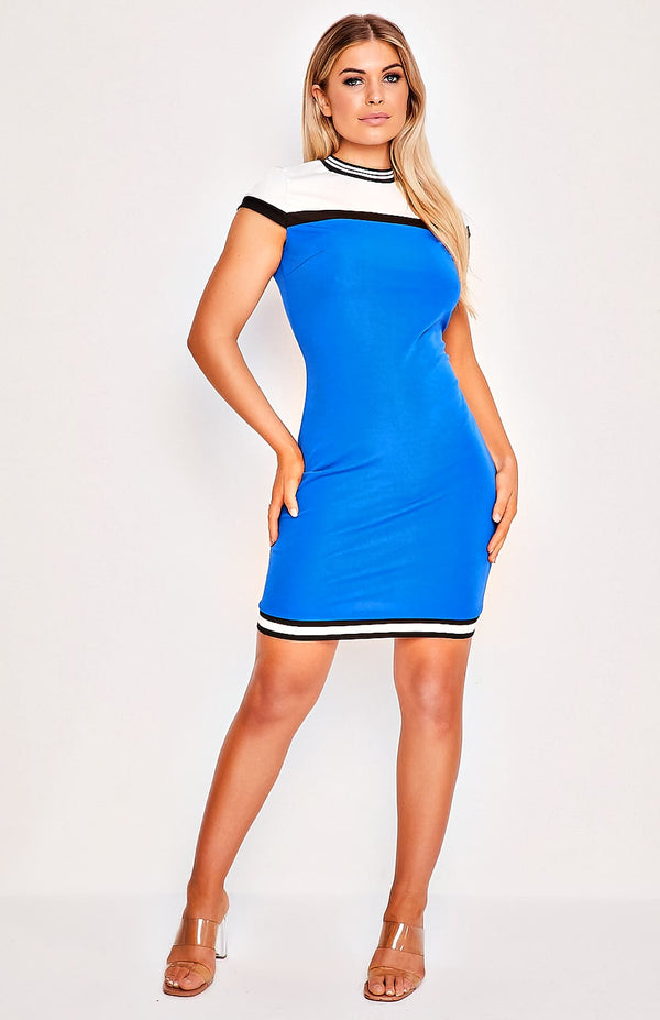 Blue Round Neck Short Sleeve Mini Dress