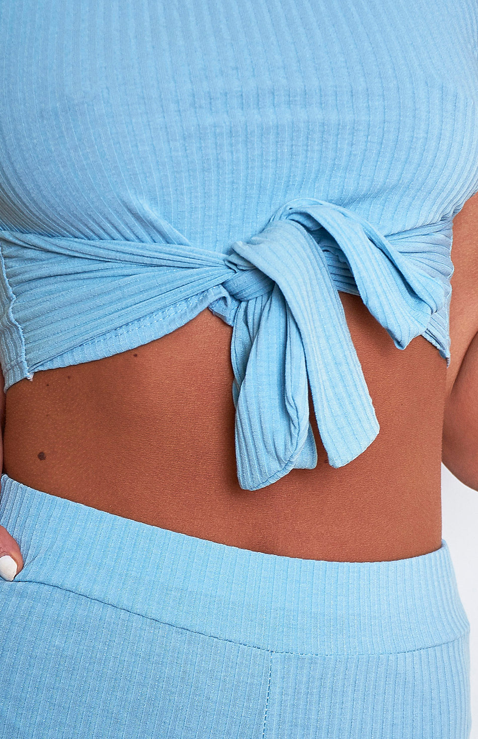 Baby Blue Ribbed Loungewear Set