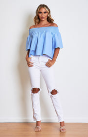Baby Blue Bardot Smock Top
