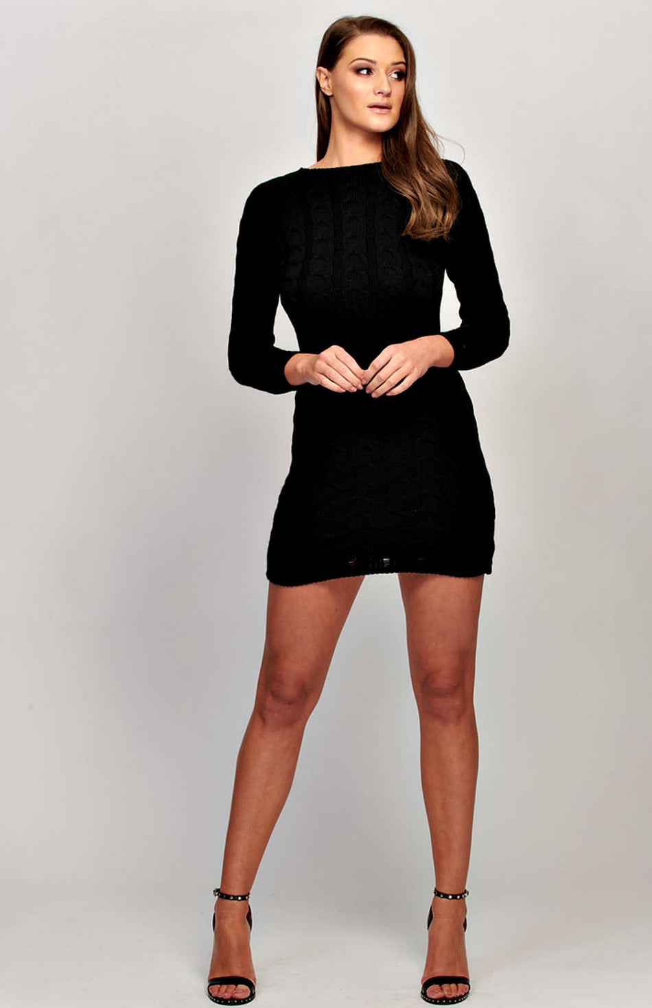 Black Cable Knit Long Sleeve Jumper Dress