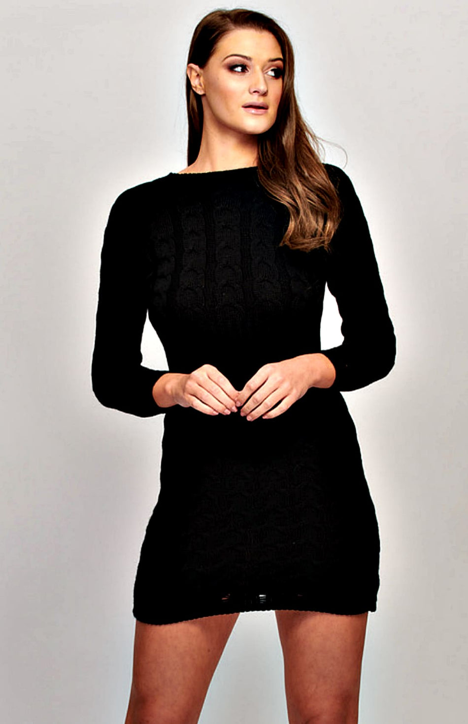 Cable Knit Long Sleeve Jumper Dress