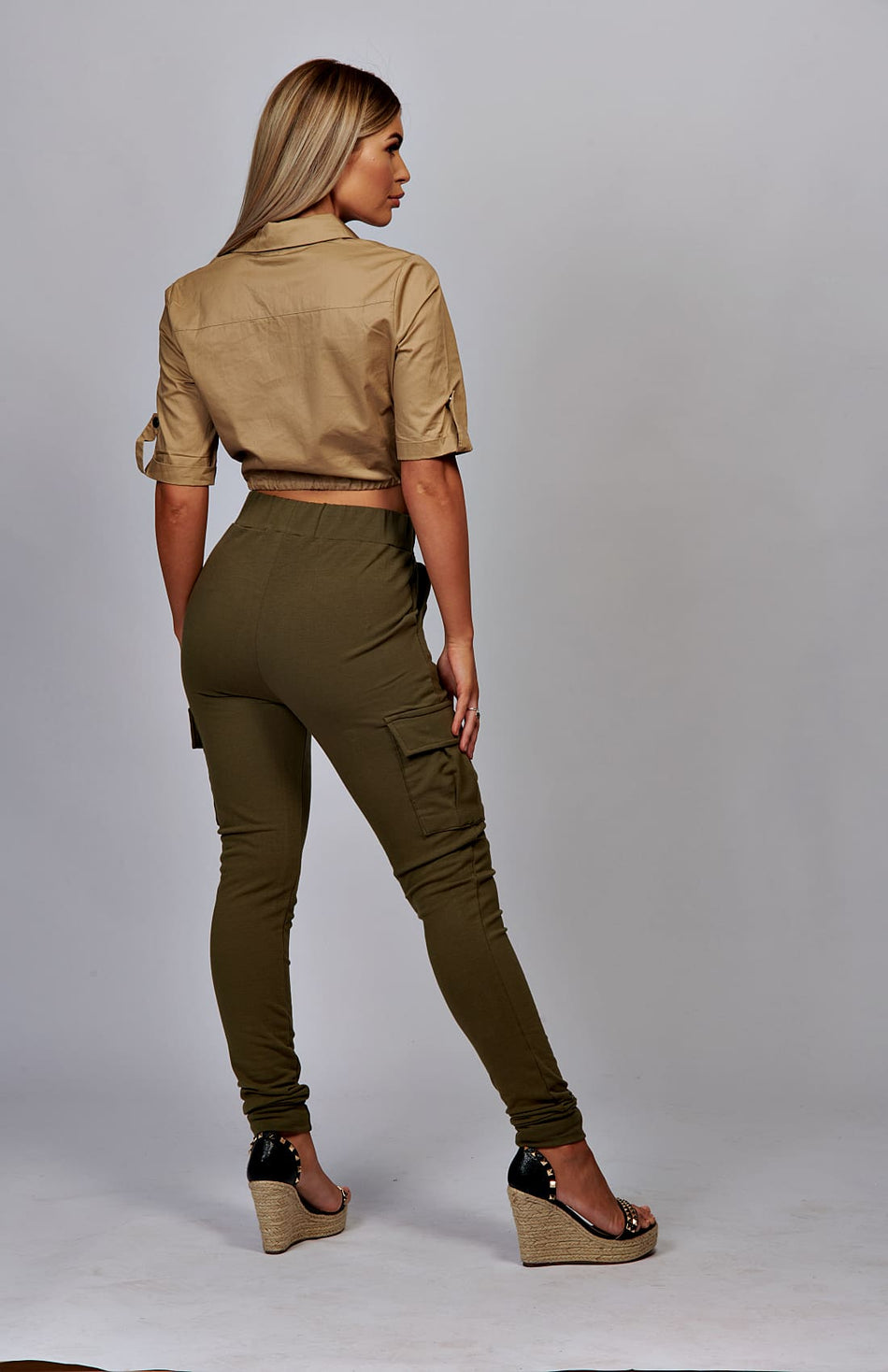 Camel Utility Button Up crop-shirt