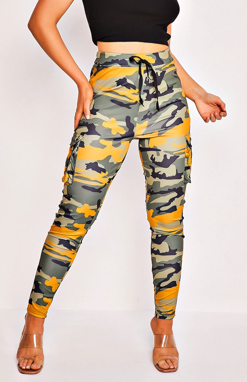 Camo Tie Waist Side Pocket Stretch Trousers