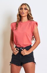 Coral Padded Shoulder T.shirt