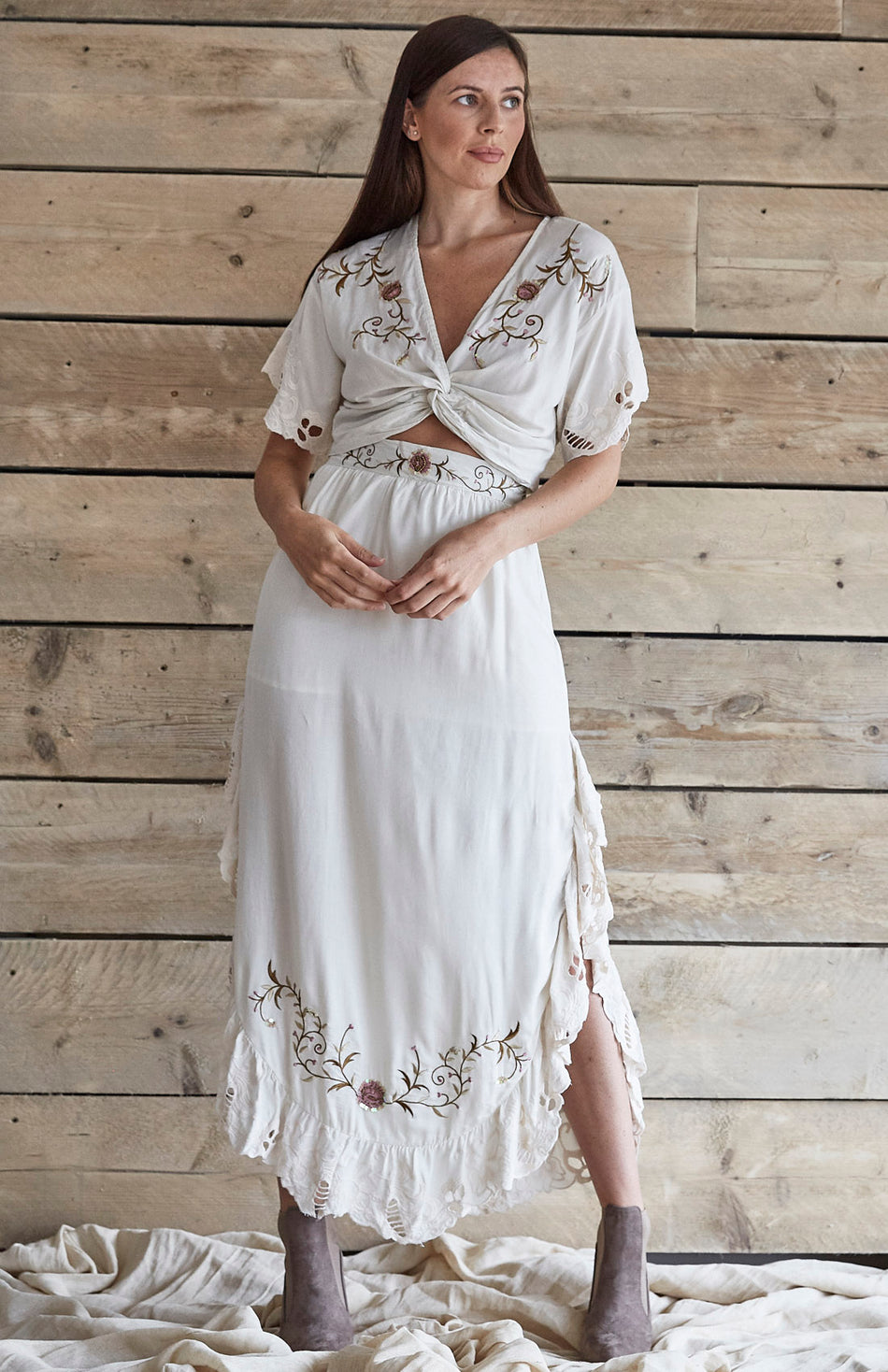 Cream Embroidered Two Piece Maxi Set