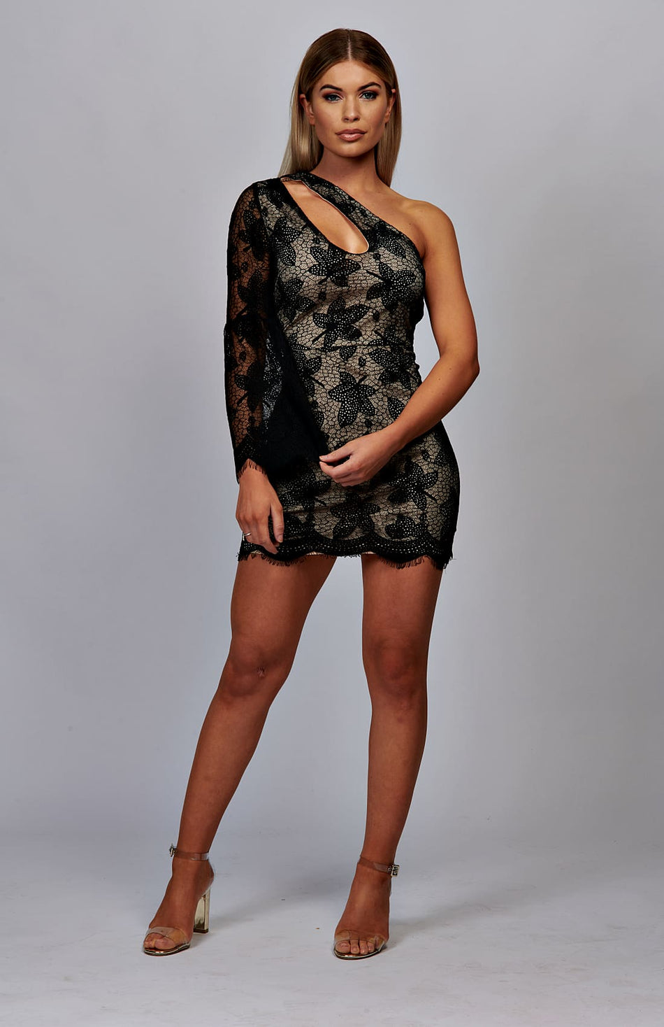 Cut Out Detail Scallop Lace One Shoulder Mini Dress