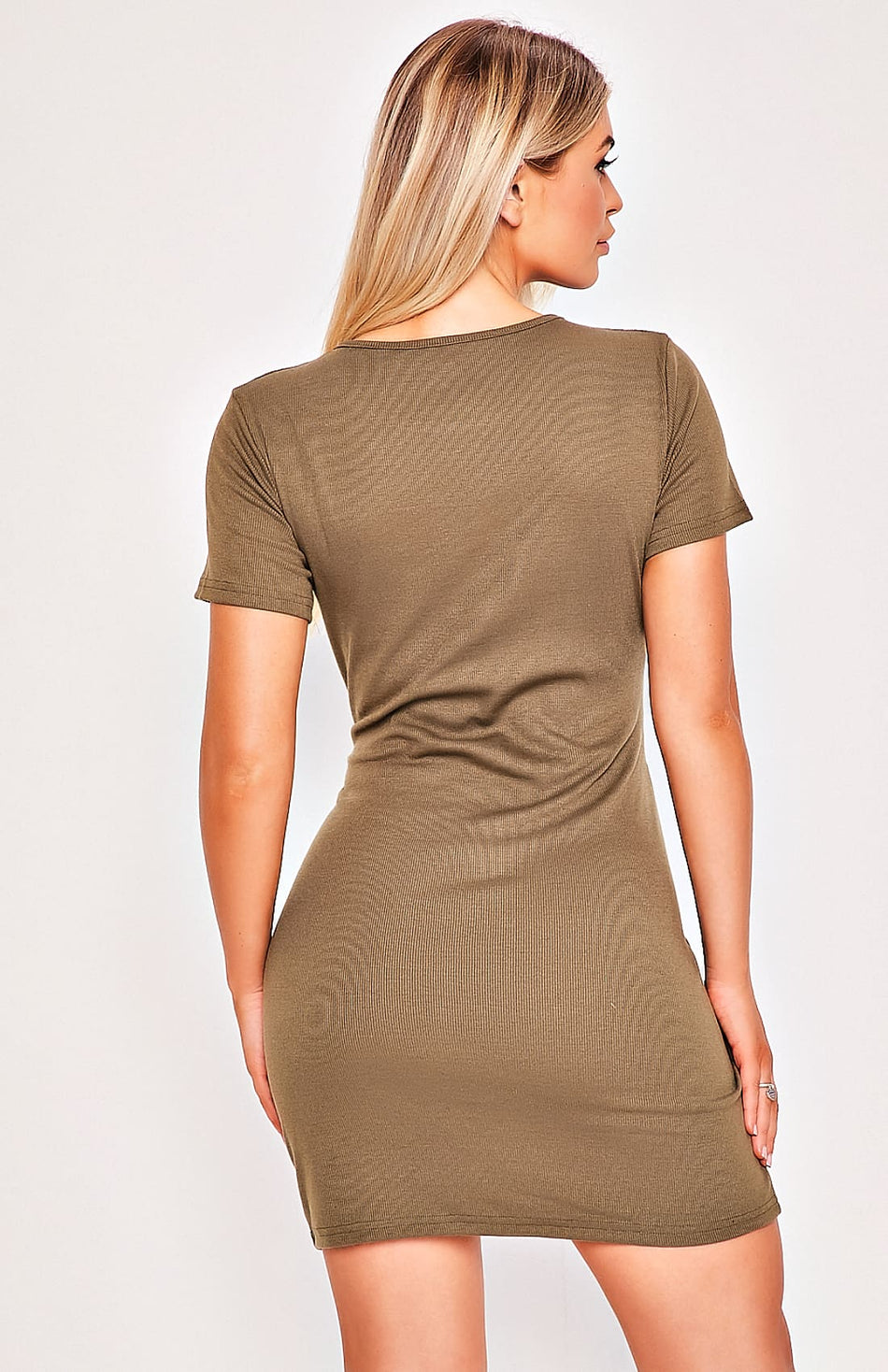Dark Green Waist Tie Mini Dress