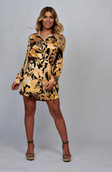 Floral Black and Gold Button Up Waist Tie Shirt Dress