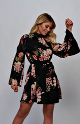 Floral Flare Sleeve Self Belt Mini Dress