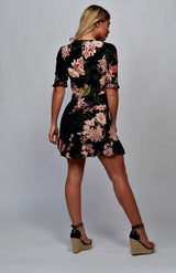 Floral Frill Hem Plunge Neck Black Mini Dress