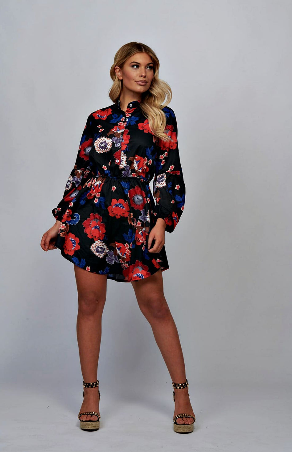 Floral Puff Sleeve Self Belt Mini Dress