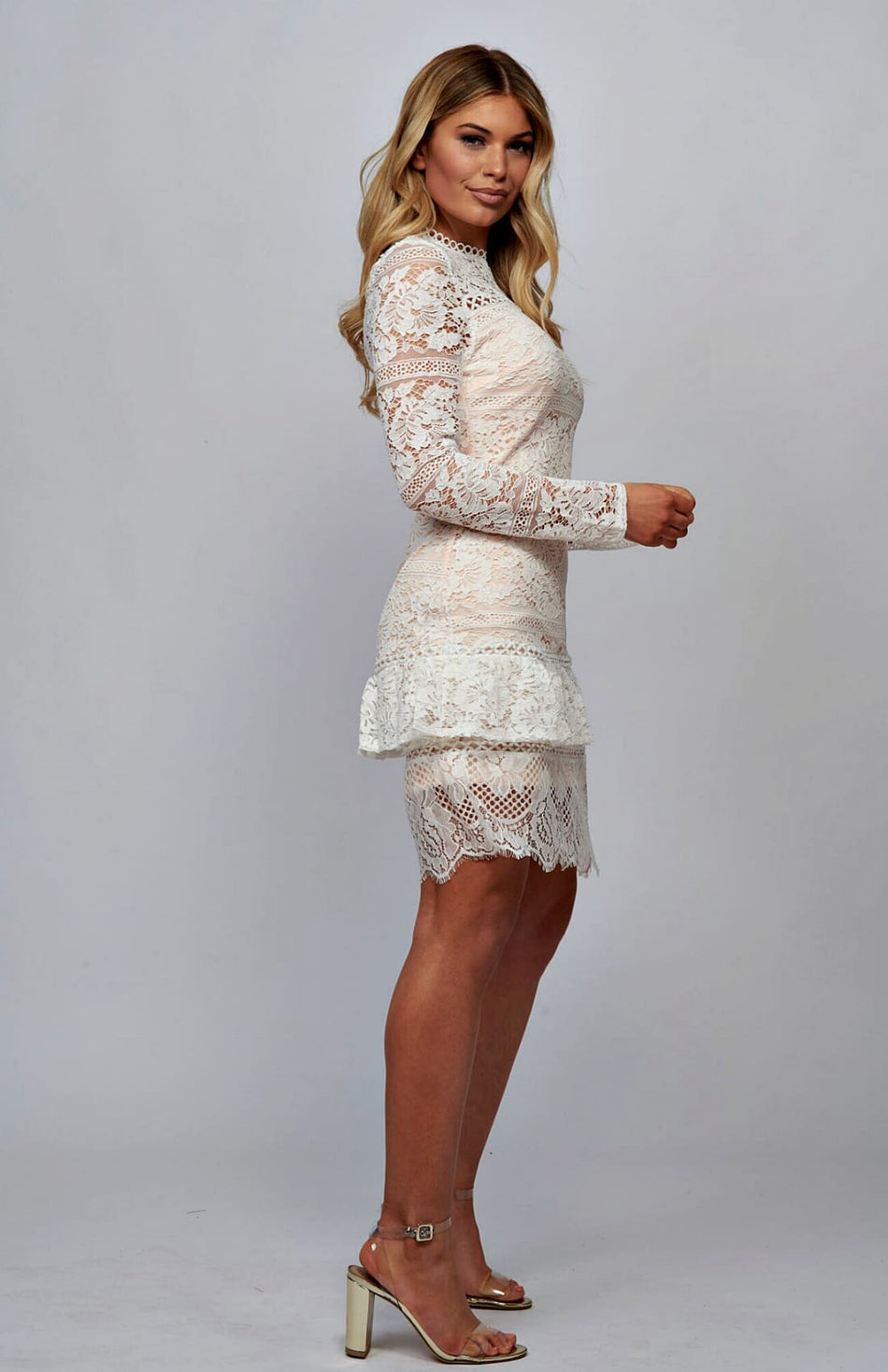 Cream Lace Frill High Neck Bodycon Dress