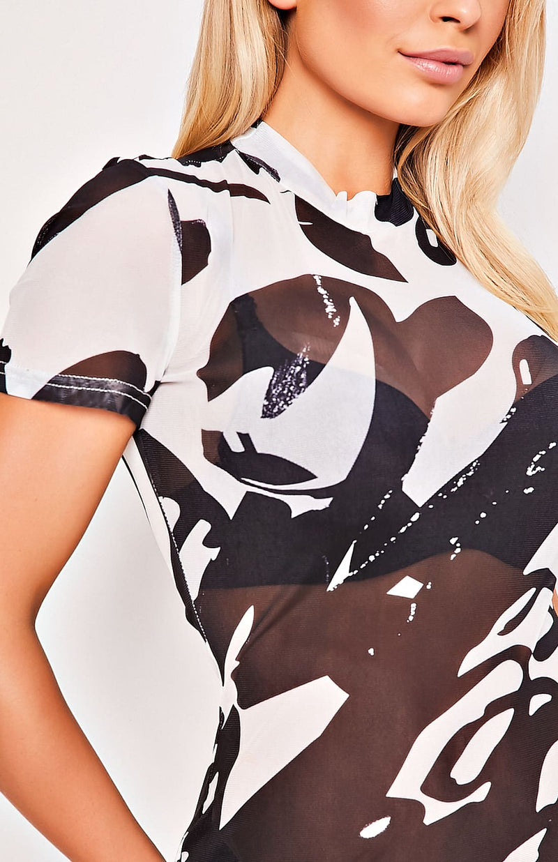 Graphic Print Mesh Bodycon Sheer Mini Dress