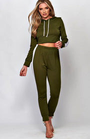 Green Side Striped Cropped Lounge Set