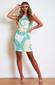 Green Tie Dye Padded Shoulder Dress