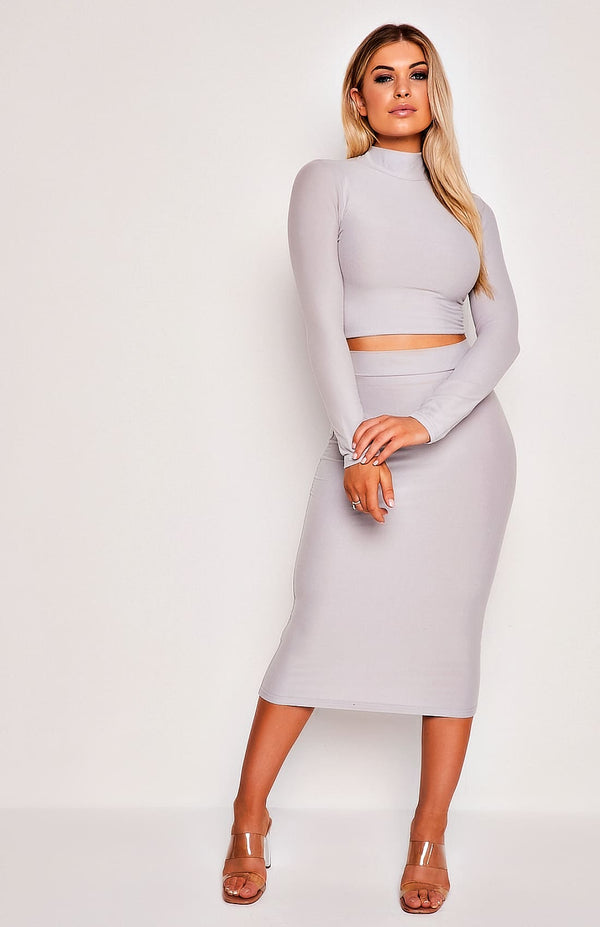 Grey High Neck Long Sleeve Two Piece Top & Skirt Set