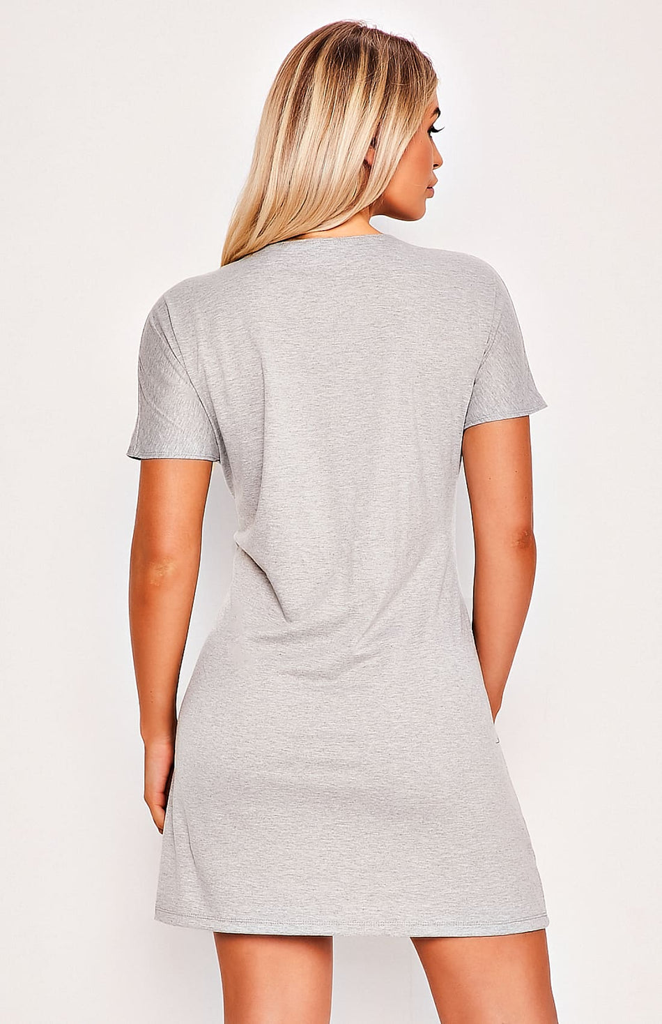 Grey Twisted Waist Tie Short Sleeve Mini Dress