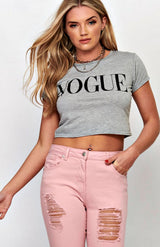 Graues Vogue-Slogan-T-Shirt