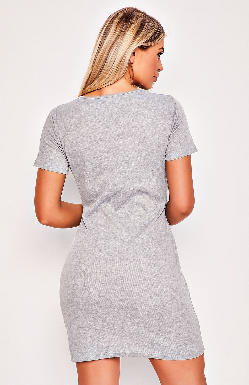 Grey Waist Tie Mini Dress