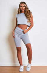 Grey Padded Shoulder Loungewear Cycle Short Set