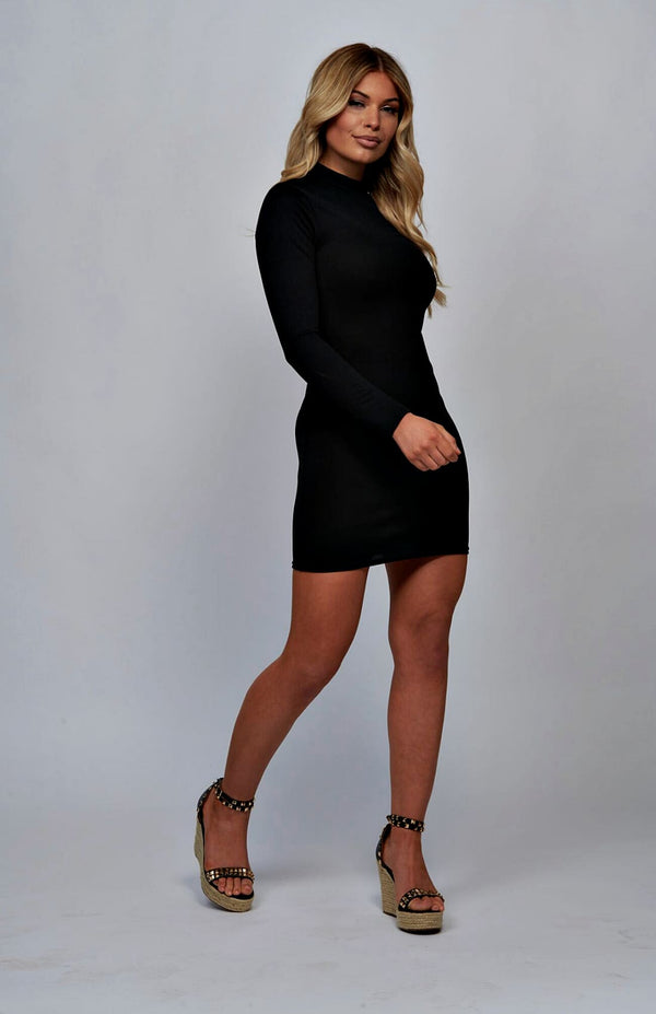 High Neck Long Sleeve Bodycon Mini Dress