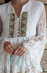 White Embelished Lace Kaftan