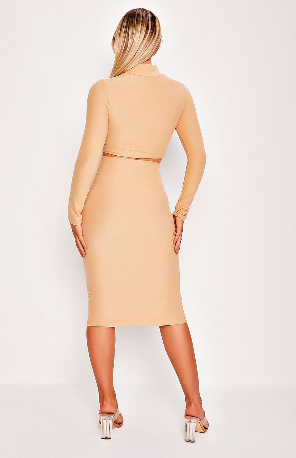 Caramel High Neck Long Sleeve Two Piece Top & Skirt Set