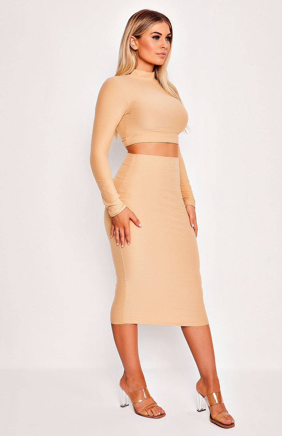 Khaki High Neck Long Sleeve Two Piece Top & Skirt Set