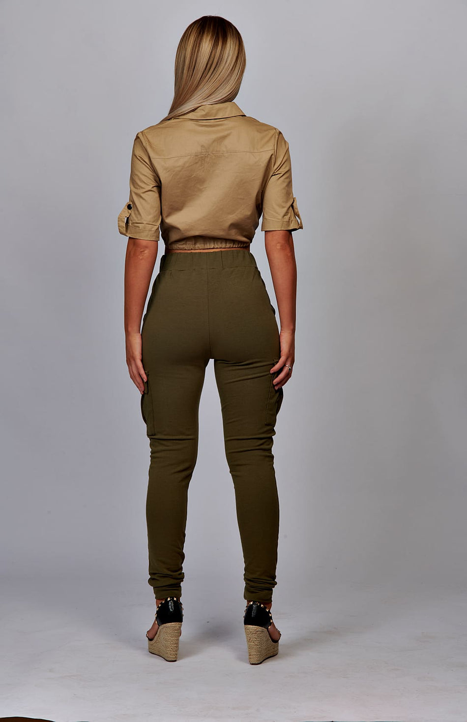 Khaki Pocket Detail Cargo Joggers
