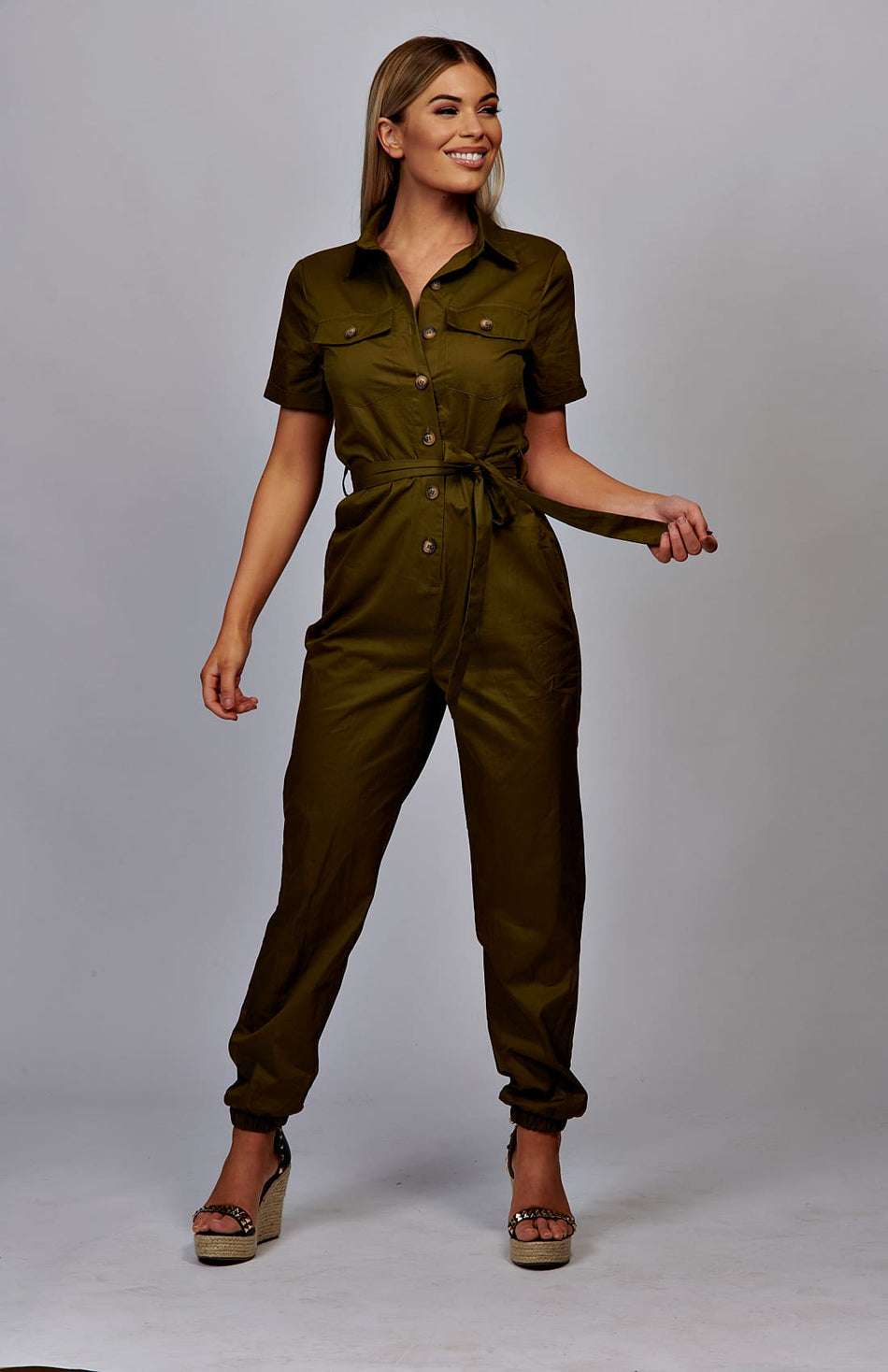 Khaki Utility Button Up Tie Waist Jumpsuit