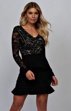 Lace Panel Frill Detail Bodycon Mini Dress