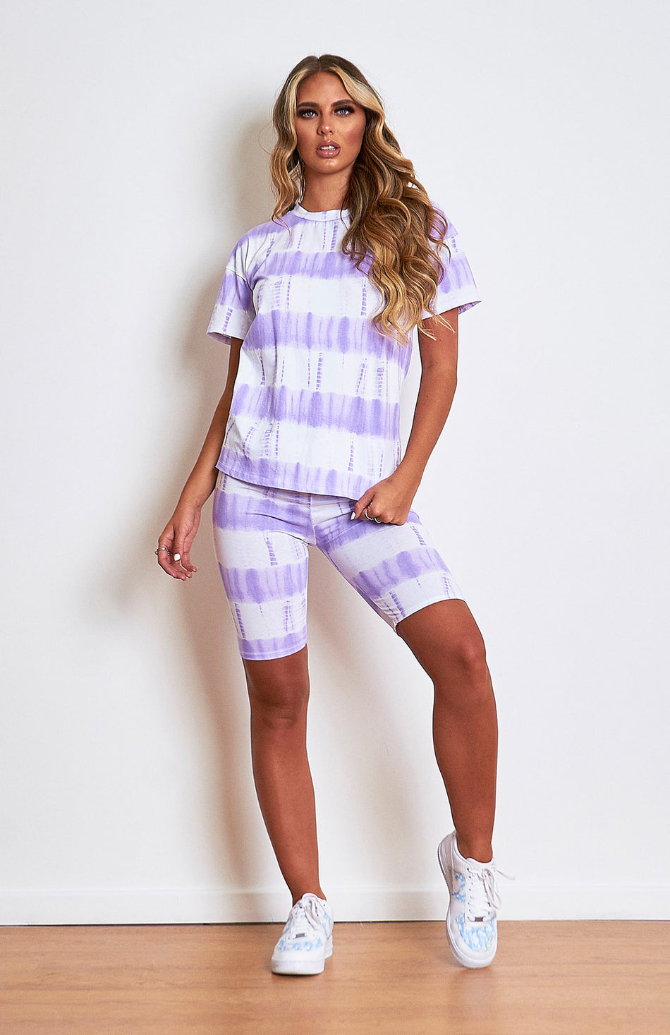 Lilac Tie Dye T.shirt en Cycle short set