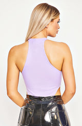 Lilac Rib Knit High Leg Bodysuit