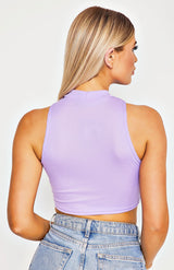 Lilac Rib Knit High Neck Crop Top