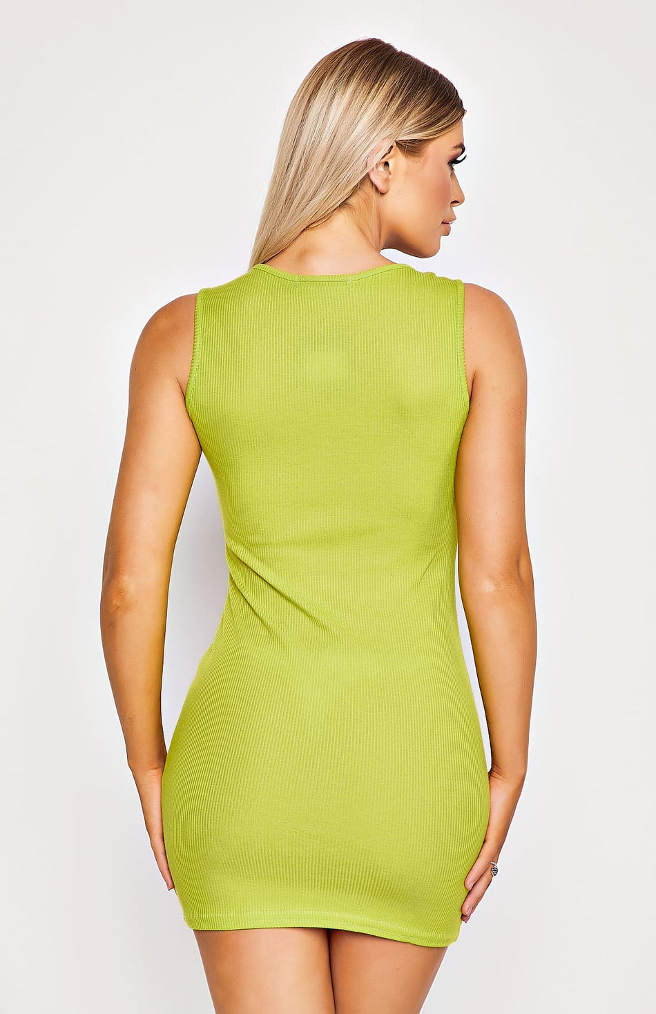 Lime Green Ribbed Vest Bodycon Dress