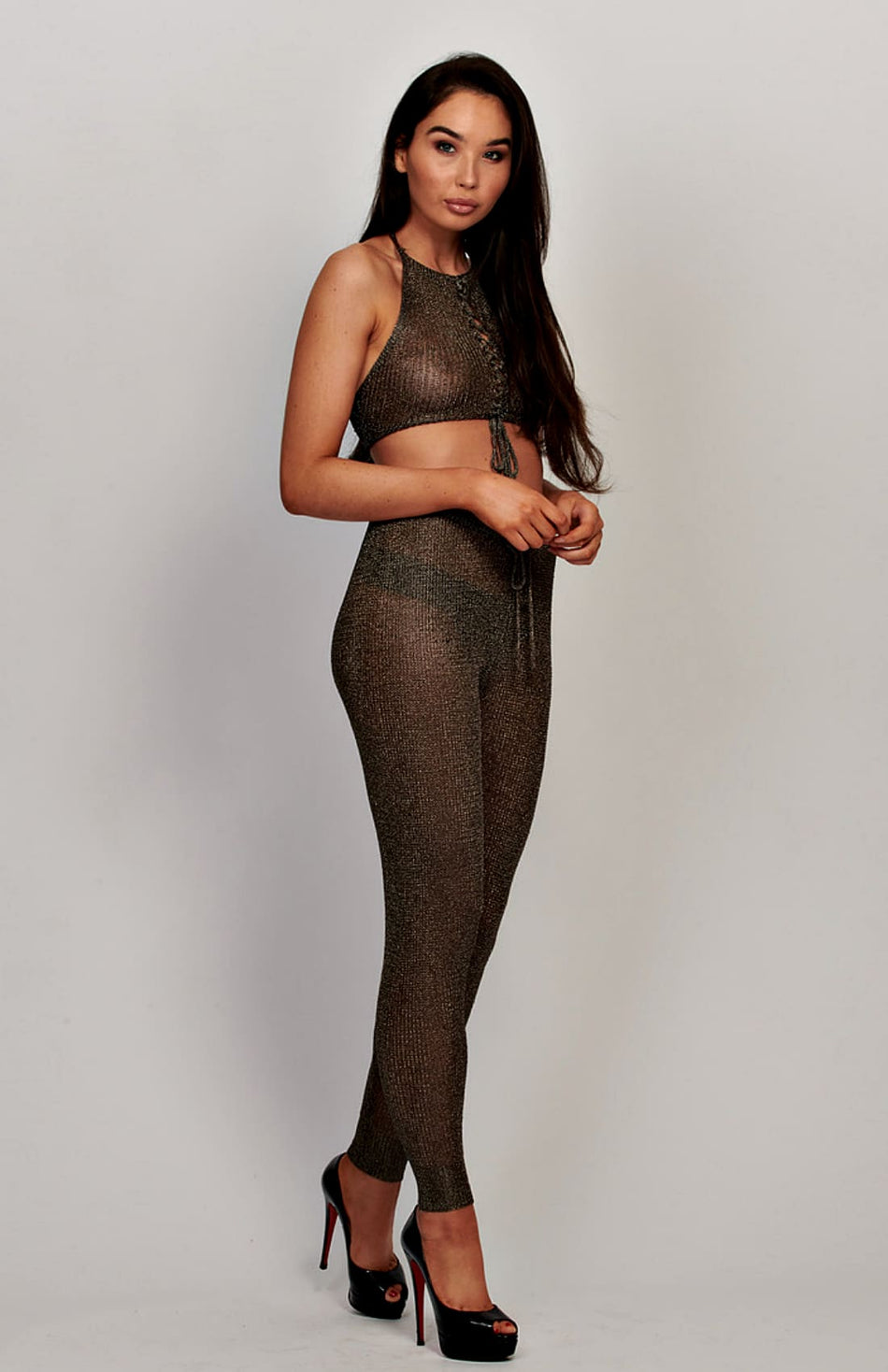 Bronze Metallic schiere Neckholder Crop Top und Hose Set