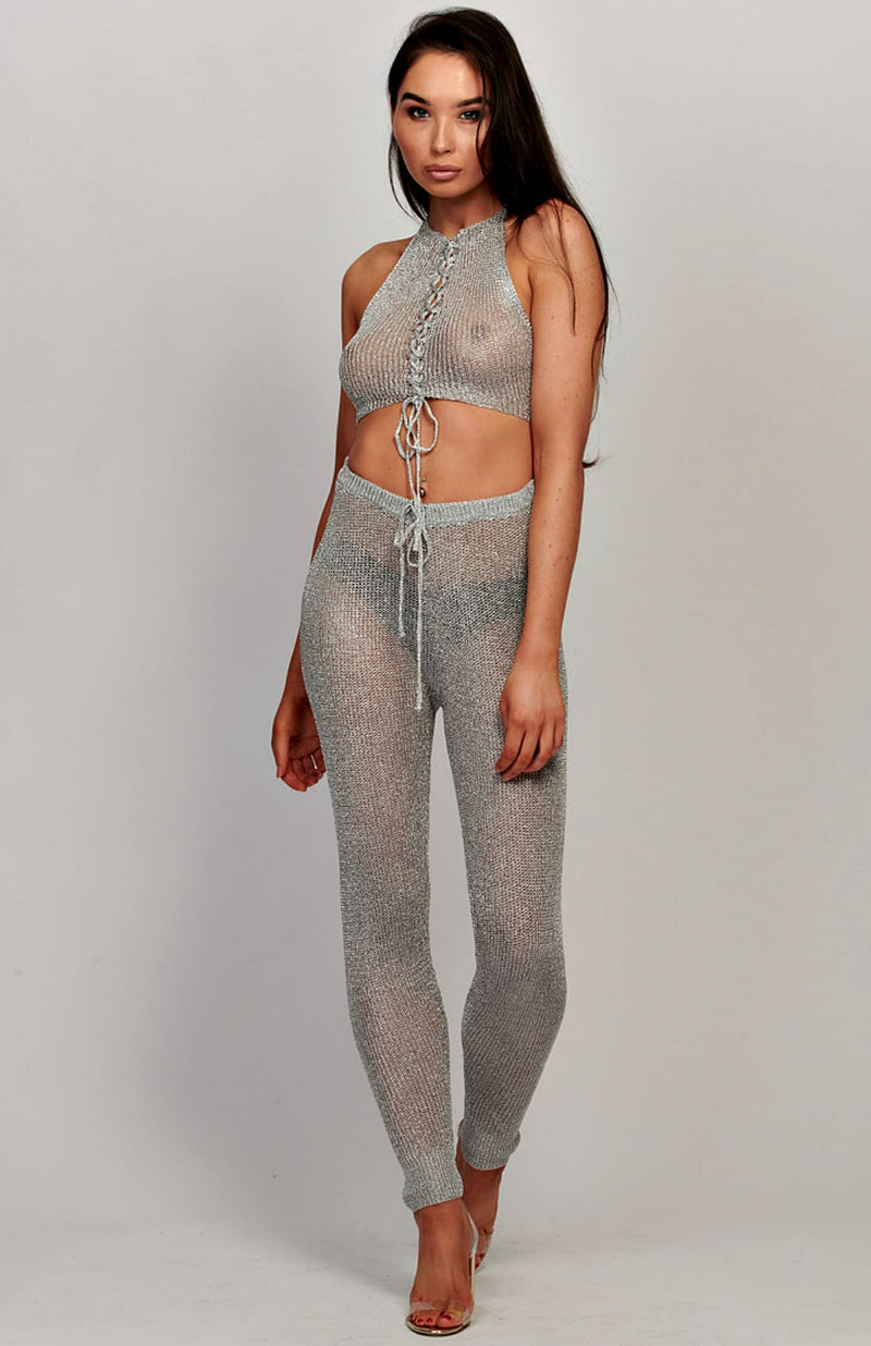 Metallic Sheer Halter Neck Crop Top And Pants Set