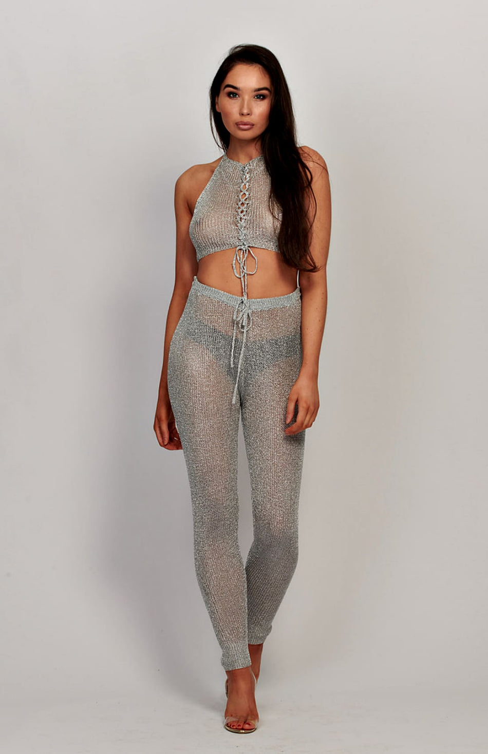 Silver Metallic Sheer Halter Neck Crop Top And Pants Set