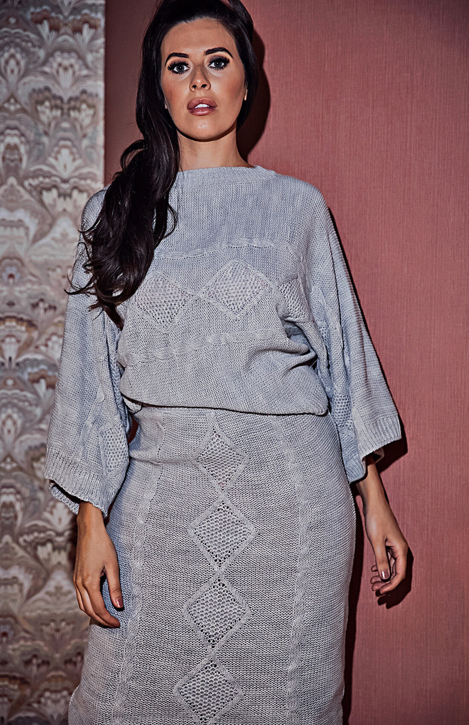 Grey Cable Knit Top & Skirt Set