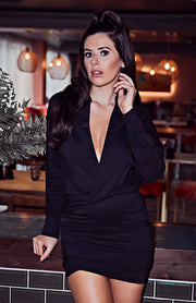 Black Solid Deep V Long Sleeve Ruched Mini Dress
