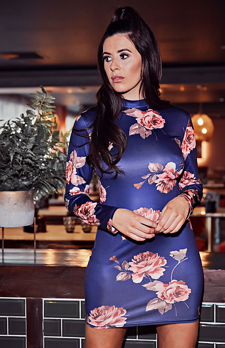Blue Floral Lace-up Open Back Bodycon Dress