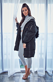 Black Long Quilted faux Fur Hooded Puffer Coat