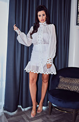 White Lantern Sleeve High Neck Cutout Detail Mini Dress