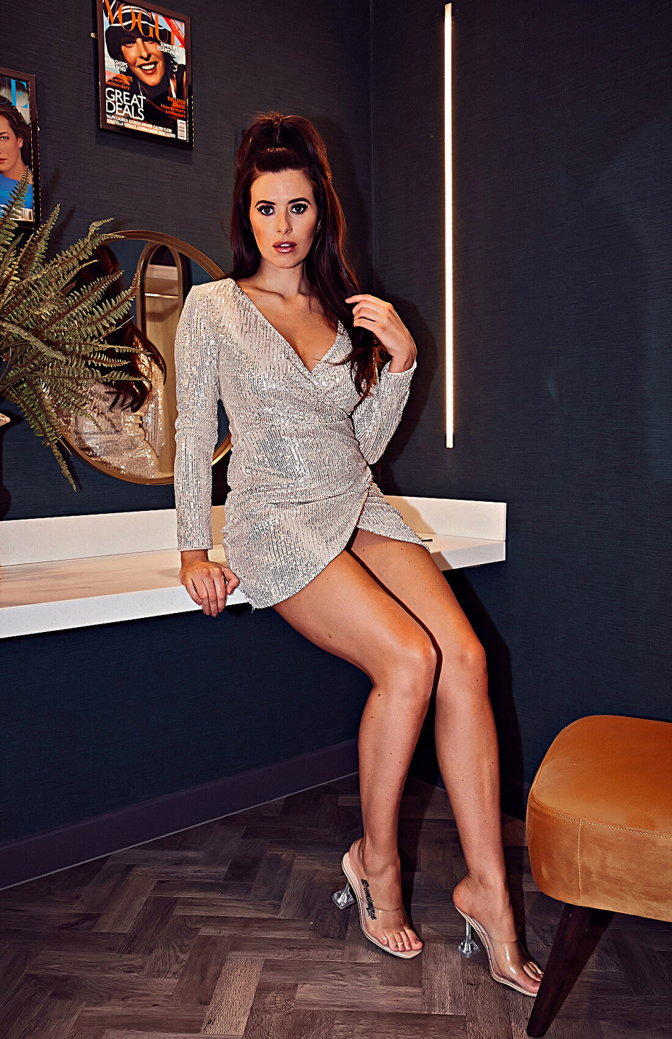 Sequins Wrap Ruched V Neck Long Sleeve Mini Dress