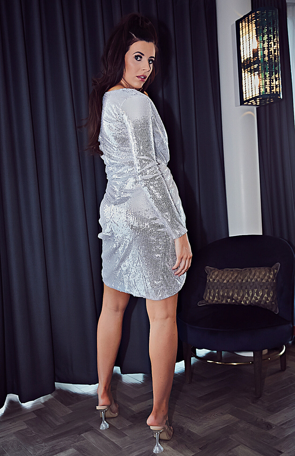 Silver Wrap Ruched Sequins Bodycon Dress